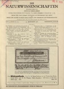 Die Naturwissenschaften. Wochenschrift..., 14. Jg. 1926, 24. September, Heft 39.