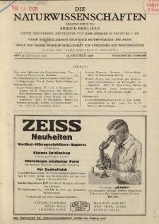 Die Naturwissenschaften. Wochenschrift..., 14. Jg. 1926, 15. Oktober, Heft 42.