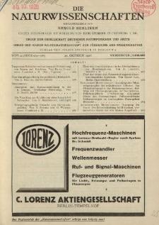 Die Naturwissenschaften. Wochenschrift..., 14. Jg. 1926, 29. Oktober, Heft 44.