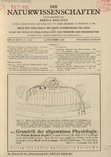 Die Naturwissenschaften. Wochenschrift..., 14. Jg. 1926, 19. November, Heft 47.