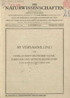 Die Naturwissenschaften. Wochenschrift..., 14. Jg. 1926, 26. November, Heft 48/49.