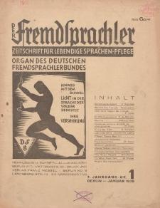 Der Fremdsprachler : Zeitschrift für lebendige Sprachen-Pflege Organ des Deutschen, 7. Jahrgang, Januar 1930, Nr 1.