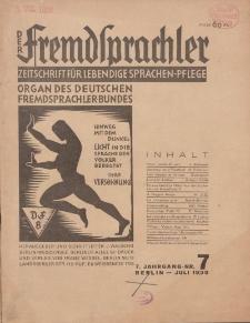 Der Fremdsprachler : Zeitschrift für lebendige Sprachen-Pflege Organ des Deutschen, 7. Jahrgang, Juli 1930, Nr 7.