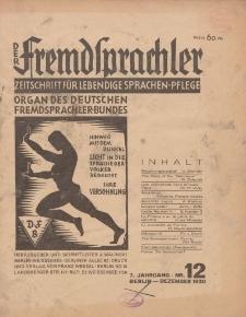 Der Fremdsprachler : Zeitschrift für lebendige Sprachen-Pflege Organ des Deutschen, 7. Jahrgang, Dezember 1930, Nr 12.
