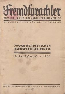 Der Fremdsprachler : Zeitschrift für lebendige Sprachen-Pflege Organ des Deutschen (Inhaltsverzeichnis), 1933