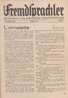 Der Fremdsprachler : Zeitschrift für lebendige Sprachen-Pflege Organ des Deutschen, 10. Jahrgang, März 1933, Heft 3.