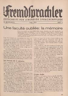 Der Fremdsprachler : Zeitschrift für lebendige Sprachen-Pflege Organ des Deutschen, 10. Jahrgang, Mai 1933, Heft 5.