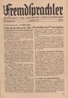 Der Fremdsprachler : Zeitschrift für lebendige Sprachen-Pflege Organ des Deutschen, 10. Jahrgang, August 1933, Heft 8.