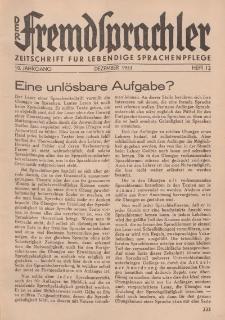 Der Fremdsprachler : Zeitschrift für lebendige Sprachen-Pflege Organ des Deutschen, 10. Jahrgang, Dezember 1933, Heft 12.