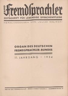 Der Fremdsprachler : Zeitschrift für lebendige Sprachen-Pflege Organ des Deutschen (Inhaltsverzeichnis), 1934