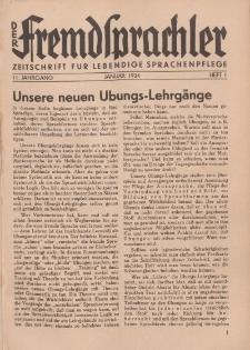 Der Fremdsprachler : Zeitschrift für lebendige Sprachen-Pflege Organ des Deutschen, 11. Jahrgang, Januar 1934, Heft 1.