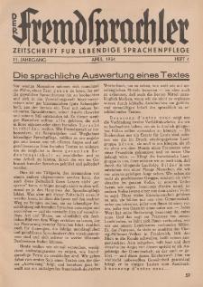 Der Fremdsprachler : Zeitschrift für lebendige Sprachen-Pflege Organ des Deutschen, 11. Jahrgang, April 1934, Heft 4.