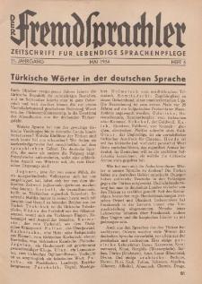 Der Fremdsprachler : Zeitschrift für lebendige Sprachen-Pflege Organ des Deutschen, 11. Jahrgang, Mai 1934, Heft 5.
