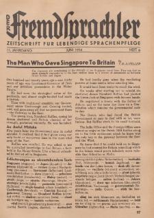 Der Fremdsprachler : Zeitschrift für lebendige Sprachen-Pflege Organ des Deutschen, 11. Jahrgang, Juni 1934, Heft 6.