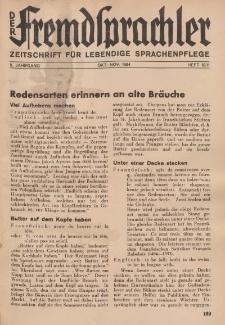 Der Fremdsprachler : Zeitschrift für lebendige Sprachen-Pflege Organ des Deutschen, 11. Jahrgang, Oktober/ November 1934, Heft 10/11.