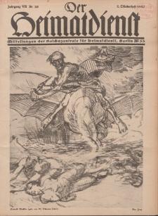 Der Heimatdienst : Mitteilungen der Reichszentrale für Heimatdienst, 7. Jahrgang, 2. Oktoberheft 1927, Nr 20.