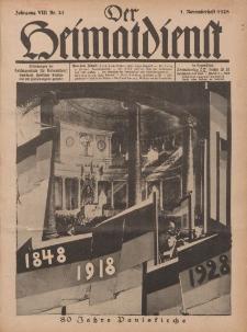 Der Heimatdienst : Mitteilungen der Reichszentrale für Heimatdienst, 8. Jahrgang, 1. Novemberheft 1928, Nr 21.