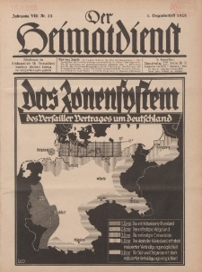 Der Heimatdienst : Mitteilungen der Reichszentrale für Heimatdienst, 8. Jahrgang, 1. Dezemberheft 1928, Nr 23.
