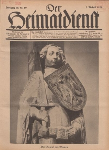 Der Heimatdienst : Mitteilungen der Reichszentrale für Heimatdienst, 9. Jahrgang, 2. Maiheft 1929, Nr 10.