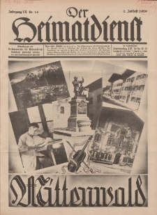 Der Heimatdienst : Mitteilungen der Reichszentrale für Heimatdienst, 9. Jahrgang, 2. Juliheft 1929, Nr 14.