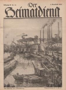Der Heimatdienst : Mitteilungen der Reichszentrale für Heimatdienst, 9. Jahrgang, 2. Augustheft 1929, Nr 16.