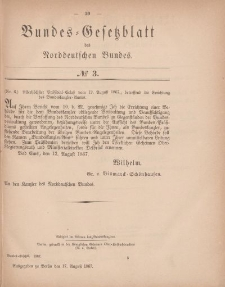 Bundes-Gesetzblatt des Norddeutschen Bundes, 1867, Nr 3.