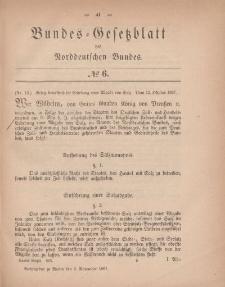Bundes-Gesetzblatt des Norddeutschen Bundes, 1867, Nr 6.