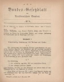 Bundes-Gesetzblatt des Norddeutschen Bundes, 1867, Nr 8.