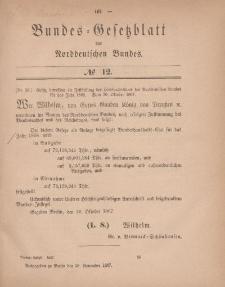 Bundes-Gesetzblatt des Norddeutschen Bundes, 1867, Nr 12.