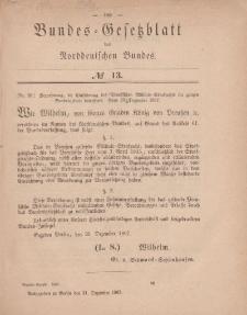 Bundes-Gesetzblatt des Norddeutschen Bundes, 1867, Nr 13.