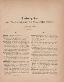 Bundes-Gesetzblatt des Norddeutschen Bundes (Sachregister), 1867
