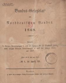 Bundes-Gesetzblatt des Norddeutschen Bundes (Chronologische Uebersicht...), 1868