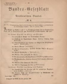 Bundes-Gesetzblatt des Norddeutschen Bundes, 1868, Nr 4.