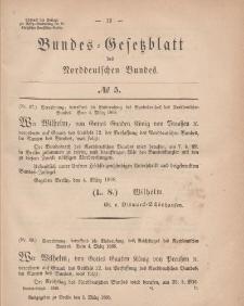 Bundes-Gesetzblatt des Norddeutschen Bundes, 1868, Nr 5.