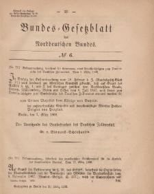 Bundes-Gesetzblatt des Norddeutschen Bundes, 1868, Nr 6.