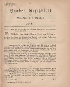 Bundes-Gesetzblatt des Norddeutschen Bundes, 1868, Nr 11.