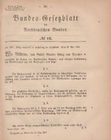 Bundes-Gesetzblatt des Norddeutschen Bundes, 1868, Nr 16.