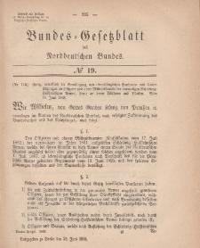 Bundes-Gesetzblatt des Norddeutschen Bundes, 1868, Nr 19.