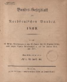 Bundes-Gesetzblatt des Norddeutschen Bundes (Chronologische Uebersicht...), 1869
