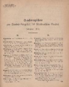 Bundes-Gesetzblatt des Norddeutschen Bundes (Sachregister), 1869