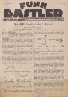 Funk Bastler : Fachblatt des Deutschen Funktechnischen Verbandes E.V., 7. Januar 1927, Heft 2.