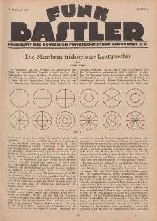 Funk Bastler : Fachblatt des Deutschen Funktechnischen Verbandes E.V., 21. Januar 1927, Heft 4.