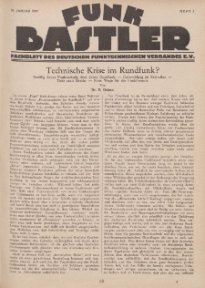 Funk Bastler : Fachblatt des Deutschen Funktechnischen Verbandes E.V., 28. Januar 1927, Heft 5.