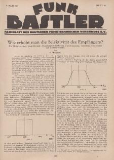 Funk Bastler : Fachblatt des Deutschen Funktechnischen Verbandes E.V., 4. März 1927, Heft 10.