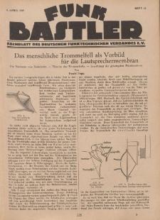 Funk Bastler : Fachblatt des Deutschen Funktechnischen Verbandes E.V., 8. April 1927, Heft 15.