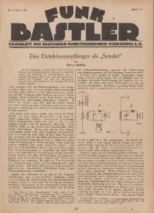 Funk Bastler : Fachblatt des Deutschen Funktechnischen Verbandes E.V., 22. April 1927, Heft 17.