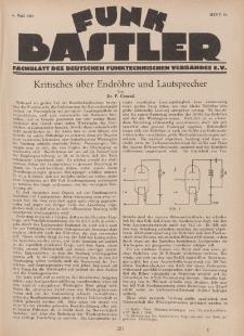 Funk Bastler : Fachblatt des Deutschen Funktechnischen Verbandes E.V., 6. Mai 1927, Heft 19.