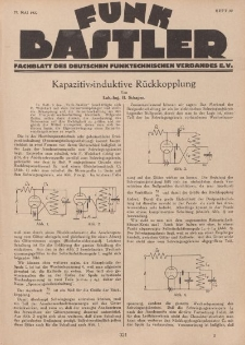 Funk Bastler : Fachblatt des Deutschen Funktechnischen Verbandes E.V., 27. Mai 1927, Heft 22.