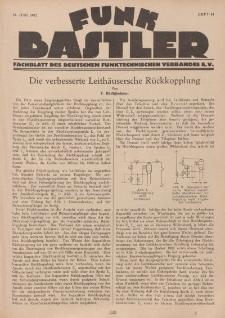 Funk Bastler : Fachblatt des Deutschen Funktechnischen Verbandes E.V., 10. Juni 1927, Heft 24.