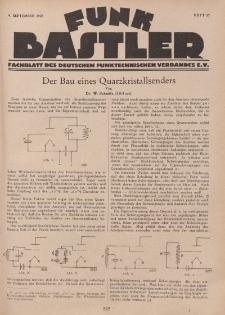Funk Bastler : Fachblatt des Deutschen Funktechnischen Verbandes E.V., 9. September 1927, Heft 37.